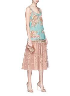 Sabyasachi Embellished tulle overlay floral print silk midi skirt