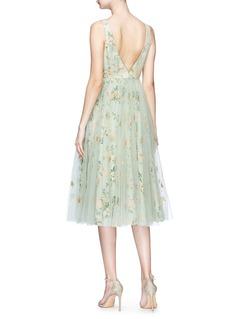 Sabyasachi Tulle overlay silk floral jacquard dress