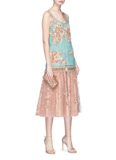 Sabyasachi Tropical floral embellished tulle sleeveless top