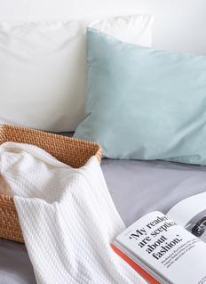 LANE CRAWFORD 有机棉枕套两件套-淡湖水绿色