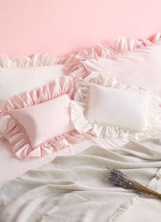 LANE CRAWFORD Frill organic cotton cushion –Ivory