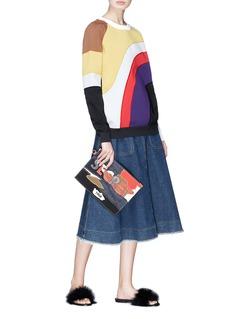 Sonia Rykiel 'Secret' slogan canvas patchwork denim pouch