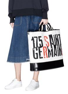 Sonia Rykiel '175 Saint Germain' slogan print canvas leather tote