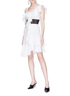 Proenza Schouler Mesh panel ruffle cady one-shoulder dress
