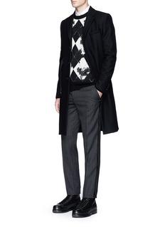Alexander McQueenVelvet trim wool stripe jacquard pants