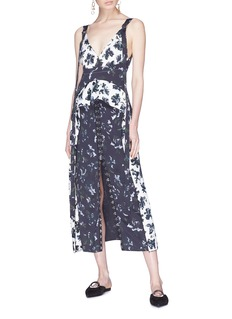 Proenza Schouler Hook-and-eye floral print patchwork crepe dress