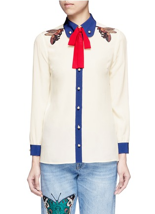 Main View - Click To Enlarge - Gucci - Bee embroidery silk shirt