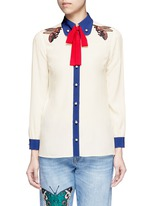 Bee embroidery silk shirt