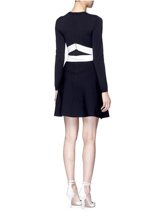 Back View - Click To Enlarge - Valentino - Contrast sash waist dense knit dress