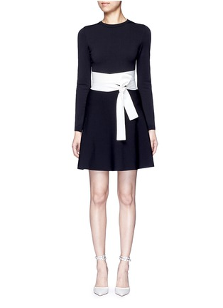 Main View - Click To Enlarge - Valentino - Contrast sash waist dense knit dress