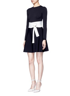 VALENTINO Contrast sash waist dense knit dress