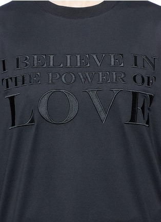 Detail View - Click To Enlarge - Givenchy - 'Power of Love' slogan embroidered cotton T-shirt