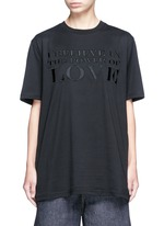 'Power of Love' slogan embroidered cotton T-shirt