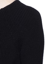 Peplum sleeve wool knit flared dress