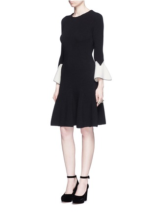 Figure View - Click To Enlarge - Alexander McQueen - Peplum sleeve wool knit flared dress