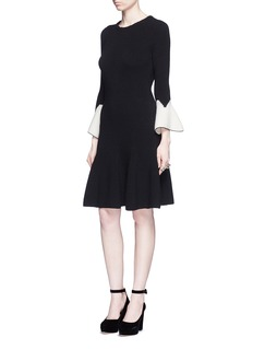 Alexander McQueen Peplum sleeve wool knit flare dress