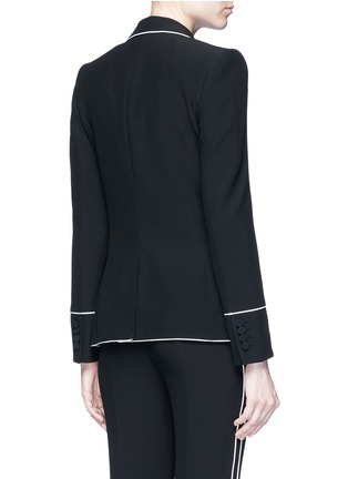 Back View - Click To Enlarge - Alexander McQueen - Contrast piping leaf crepe blazer
