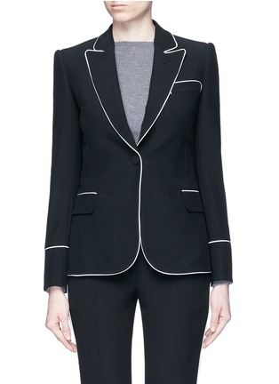 Main View - Click To Enlarge - Alexander McQueen - Contrast piping leaf crepe blazer
