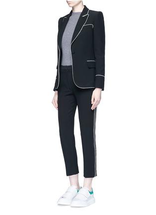 模特儿示范图 - 点击放大 - ALEXANDER MCQUEEN - 撞色镶边西服外套