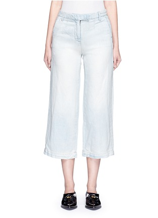 Main View - Click To Enlarge - Current/Elliott - 'The Cropped Neat' cotton-linen flared denim pants