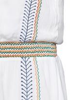 'Jolene' embroidered stripe neck tie dress