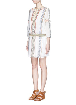 Front View - Click To Enlarge - alice + olivia - 'Jolene' embroidered stripe neck tie dress