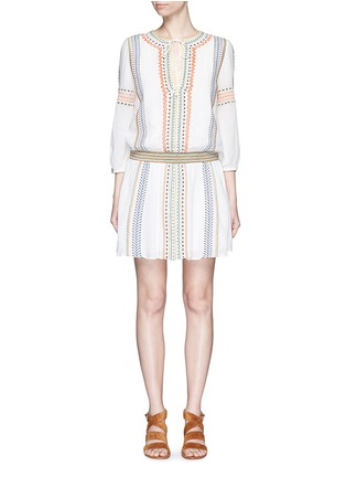 Main View - Click To Enlarge - alice + olivia - 'Jolene' embroidered stripe neck tie dress