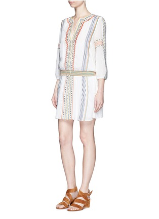 Figure View - Click To Enlarge - alice + olivia - 'Jolene' embroidered stripe neck tie dress
