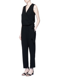 THEORY'Alvmie' wrap front crepe jumpsuit