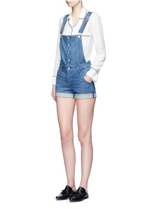 Figure View - Click To Enlarge - 3x1 - Roll cuff denim overalls
