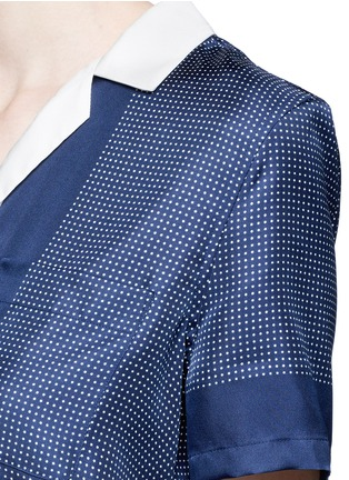 Detail View - Click To Enlarge - Equipment - 'Keira Tie Front' foulard dot print silk shirt