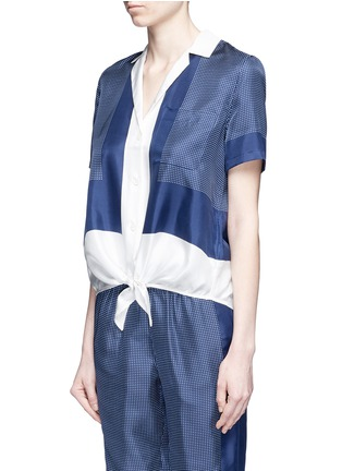 Front View - Click To Enlarge - Equipment - 'Keira Tie Front' foulard dot print silk shirt