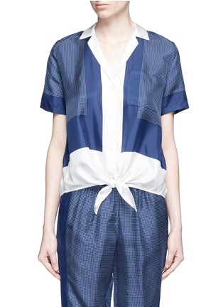 Main View - Click To Enlarge - Equipment - 'Keira Tie Front' foulard dot print silk shirt
