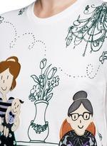 Family appliqué Victorian Garden print T-shirt