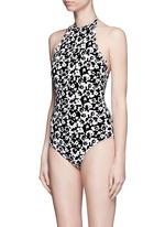 'Mott' hibiscus print halterneck one-piece swimsuit