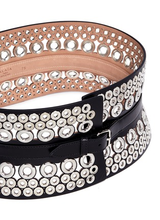 Detail View - Click To Enlarge - Alaïa - Mix eyelet leather corset belt