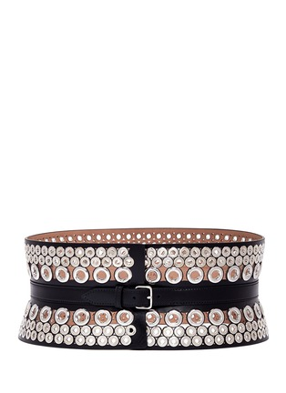 Main View - Click To Enlarge - Alaïa - Mix eyelet leather corset belt