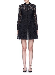 ValentinoPiped trim lace Western A-line dress