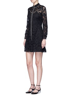 VALENTINO Piped trim lace Western A-line dress