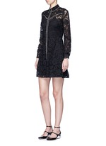 Piped trim lace Western A-line dress