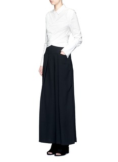 C/Meo Collective  'I'm In It' wrap waist cotton poplin shirt