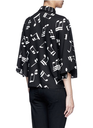 Back View - Click To Enlarge - SAINT LAURENT - Musical note print bell sleeve shirt
