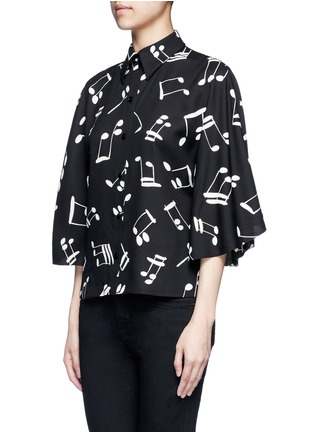Front View - Click To Enlarge - SAINT LAURENT - Musical note print bell sleeve shirt