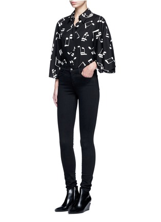 Figure View - Click To Enlarge - SAINT LAURENT - Musical note print bell sleeve shirt