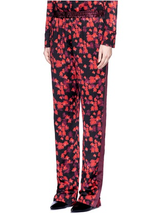 Front View - Click To Enlarge - Givenchy - Floral print silk satin pyjama pants
