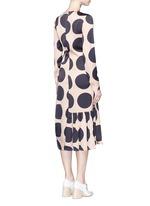 Polka dot print pleated silk dress
