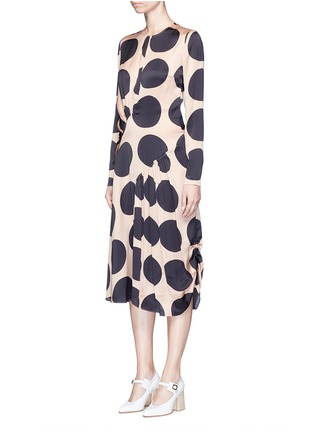 Front View - Click To Enlarge - Stella McCartney - Polka dot print pleated silk dress