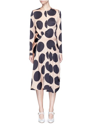 Main View - Click To Enlarge - Stella McCartney - Polka dot print pleated silk dress