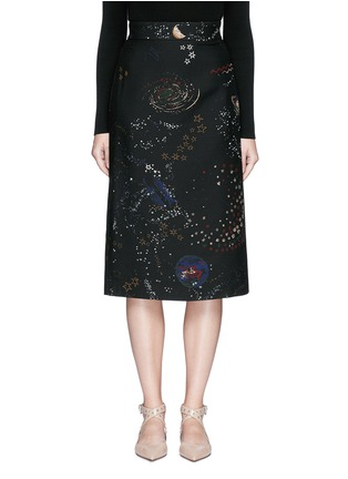 Main View - Click To Enlarge - Valentino - Cosmos print Crepe Couture skirt