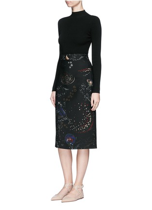 Figure View - Click To Enlarge - Valentino - Cosmos print Crepe Couture skirt